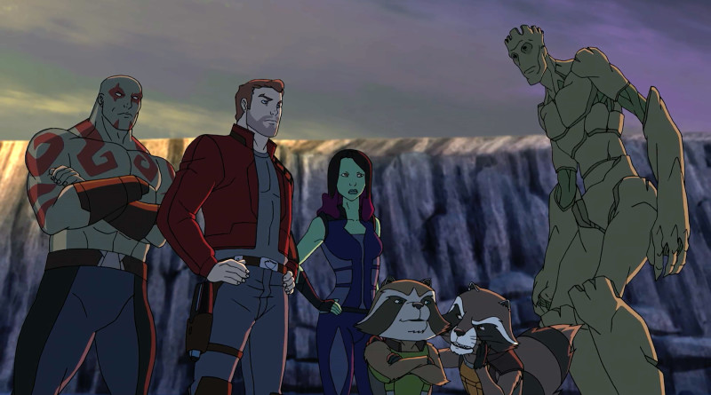 "MARVEL'S GUARDIANS OF THE GALAXY - ""We Are Family"" - Rocket is abducted and taken back to his home planet, Half World, where he gets caught up in a revolution of evolved former test subject animals. ""Marvel's Guardians of the Galaxy"" premieres Saturday, November 21 (9:30 PM - 10:00 PM ET/PT) on Marvel Universe on Disney XD. (Disney XD) DRAX, STAR LORD, GAMORA, ROCKET, GROOT"